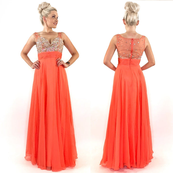 Coral Rhinestone Pageant Prom Dress