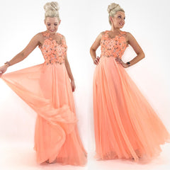 Peach Floral Pageant Prom Dress