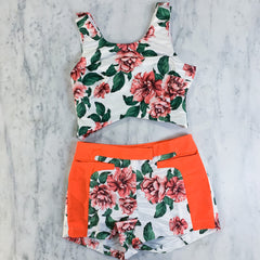 White Floral Two Piece Shorts Set