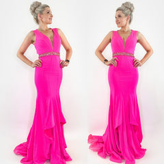 Pink Fitted Mermaid Prom Teen Pageant Dress