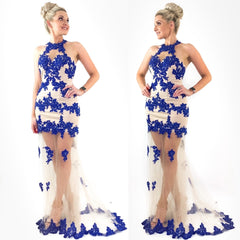 Blue and Nude Illusion Lace Evening Gown Prom Pageant Dress