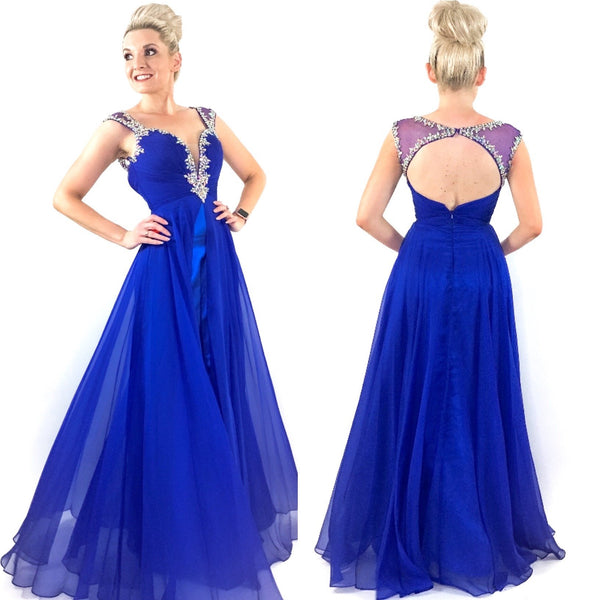 Royal Blue Rhinestone Pom Pageant Dress