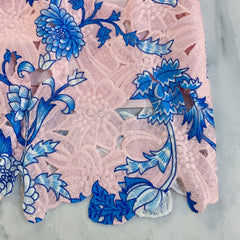 Pink and Blue Lace Floral Two Piece Skirt Set