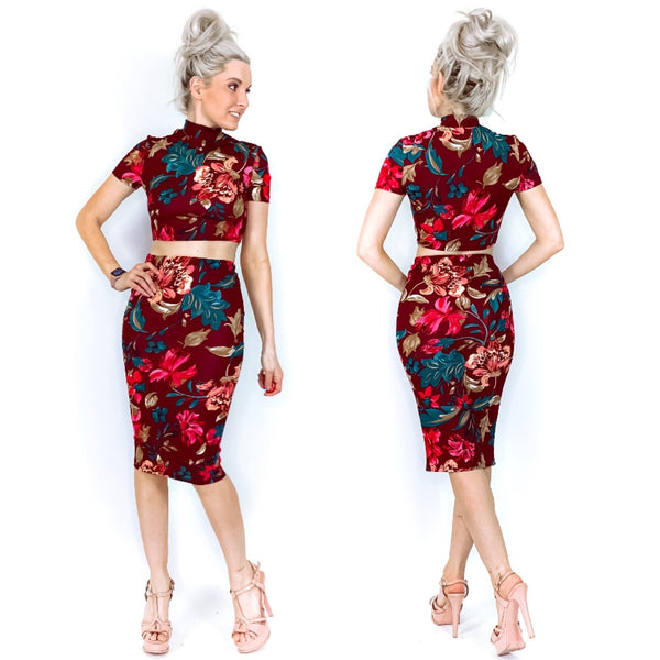 Floral Two Piece Floral Midi Cord Set