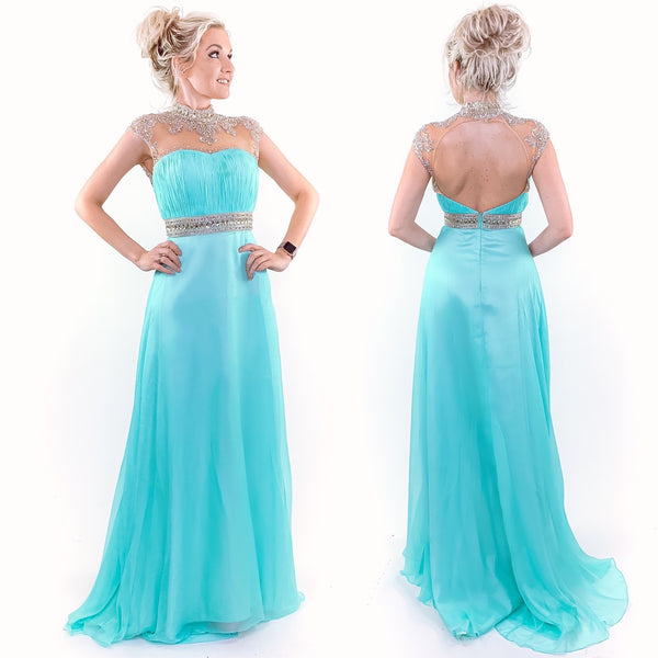 Mint Classy Modest Evening Gown Chiffon Bridesmaid Prom Dress