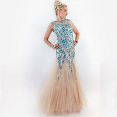 Illusion Mermaid Blue Lace Prom Dress Pageant Gown