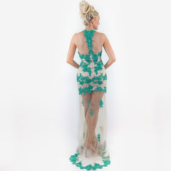Jade Illusion Prom Dress Pageant Gown