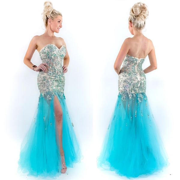 Glam Blue Prom Pageant Dress with Slit
