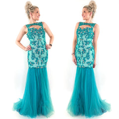 Teal Mermaid Prom Dress Teen Pageant Gown