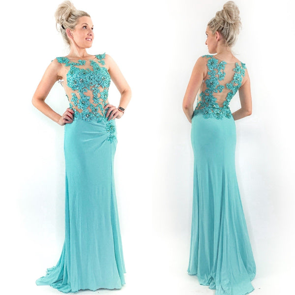 Fitted Blue Lace Illusion Prom Pageant Dress