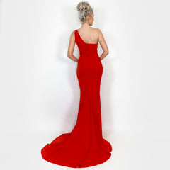 Red Fitted One Shoulder Evening Gown