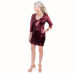 Express Red Sequin Party Dress