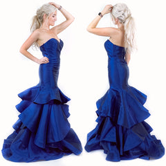 Navy Blue Fitted Mermaid Pageant Evening Gown