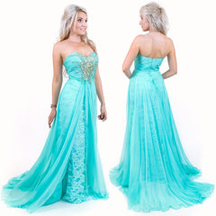 Mint Green Pageant Dress with Overlay Trainc