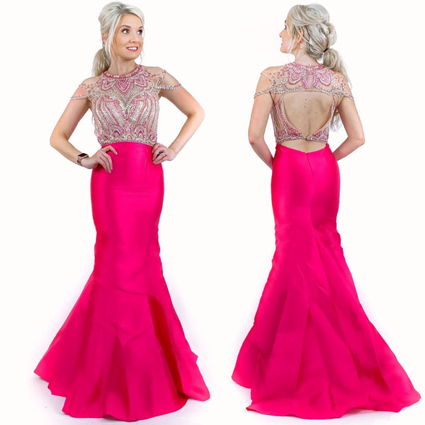 Beaded Drape Sleeve Off Shoulder Mermaid Pageant Prom Dress