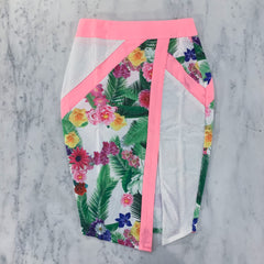 Tropical Asymmetric Two Piece Skirt Set