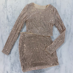 Gold Sequin Two Piece Skirt Set