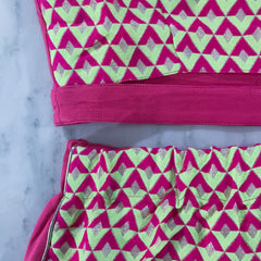 Neon Pink Two Piece Skirt Set