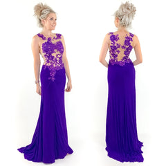 Purple Illusion Pageant Evening Gown Prom Dress