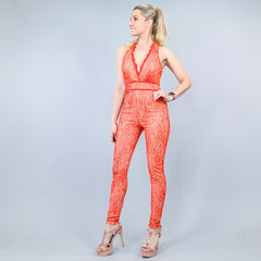 Coral Lace Fitted Pants Jumpsuit by Arden B
