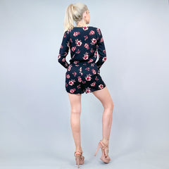 H&M Black and Pink Floral Shorts Romper