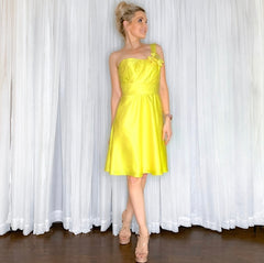 Yellow Cocktail Dress Short One Shoulder Bridesmaid Dress Lemon Allure Bridal