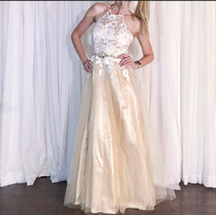 Lace Over Nude Evening Gown Wedding Dress
