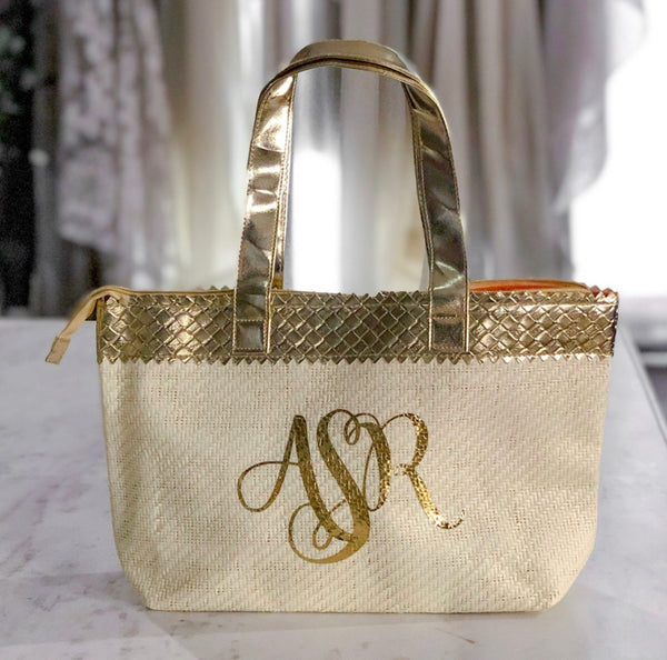 Gold Personalized Initials Grass Woven Custom Handbag