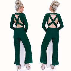 Green Plunge Open Back Pants Jumpsuit