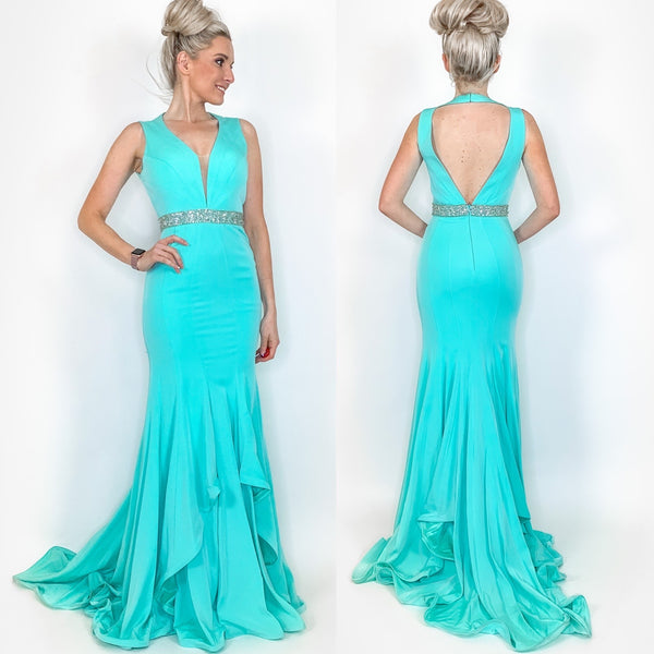Mint Green Fitted Prom Pageant Dress