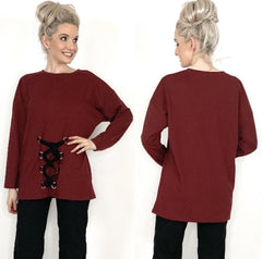 Burgundy Red Oversized Sweater Top