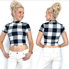 Plaid Mock Neck Crop Top