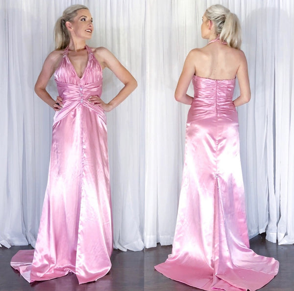 Pink Halter Beaded Prom Dress Teen Pageant Evening Gown with Train by Kiss Kiss Couture