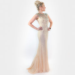 Ivory White Sequin Fitted Prom Pageant Dress