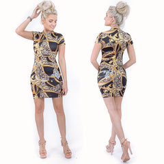 Black and Gold Pattern Fitted Mini Dress