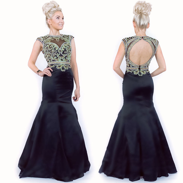 Black and Gold Black Classy Mermaid Evening Gown Prom Dress Pageant Evening Gown Military Ball Dress
