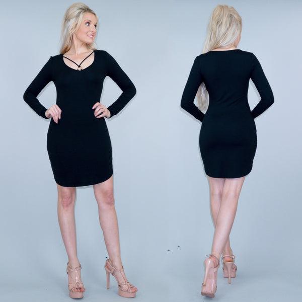 Black Fitted Stretch Mini Dress