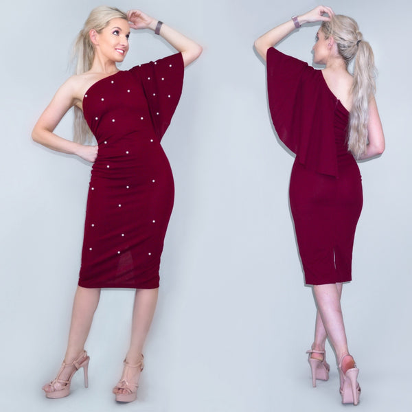 Burgundy Red One Shoulder Midi Dress with Pearls