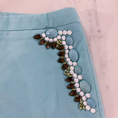 Trendy Beaded Shorts in Sky Blue by Vo Jeans