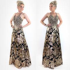 Gold Black Sparkly A-lign Prom Dress Teen Pageant Evening Gown