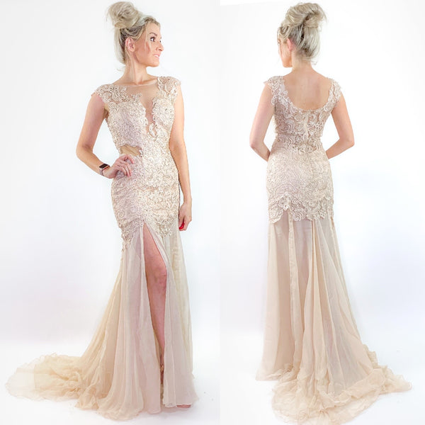 Champagne Lace Chiffon Wedding Pageant Dress