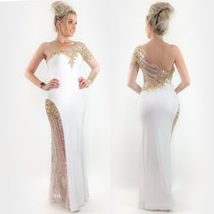 White Fitted Pageant Evening Gown Prom Dress