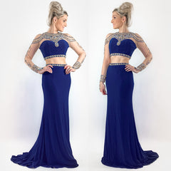 Blue Two Piece Beaded Prom Dress with Sleeves