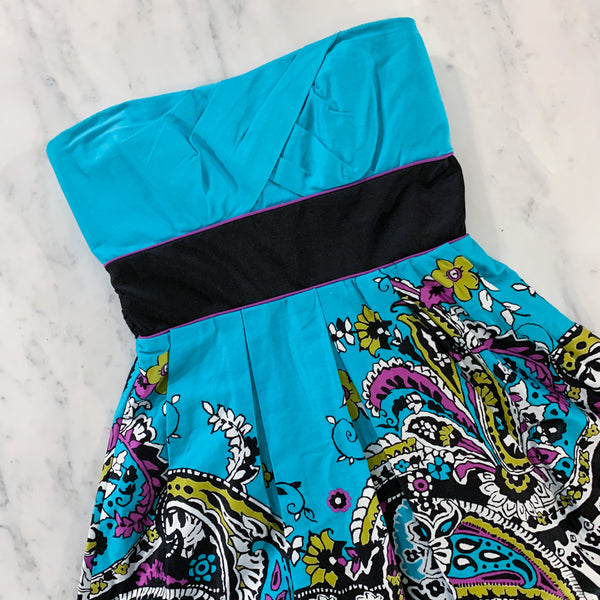 Blue Floral Pattern Strapless Sundress Teeze Me