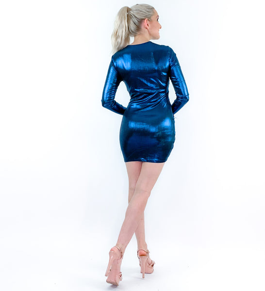 Blue Metallic Date Night Party Dress