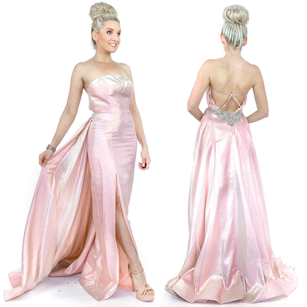 Pink Iridescent Pageant Gown Prom Dress with Overlay Skirt