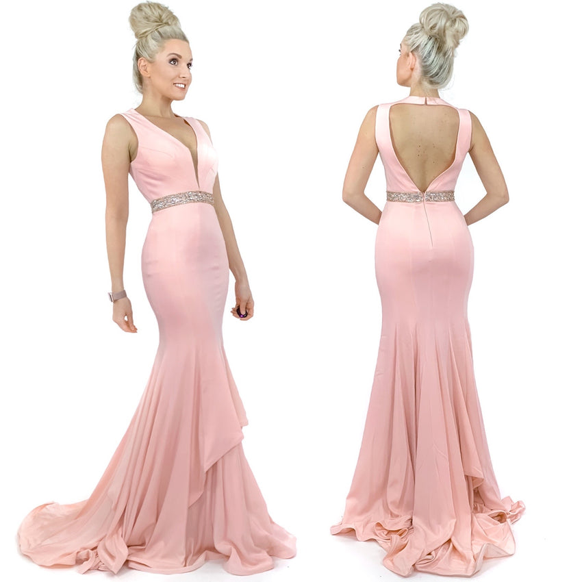 Blush Pink Mermaid Pageant Evening Gown Prom Dress