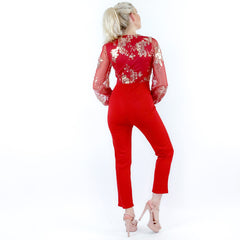Red Sequin Pants Jumpsuit