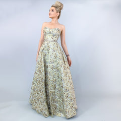 Metallic A-line Ball Gown Pageant Prom Dress
