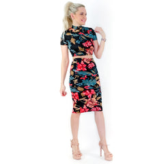 Black Floral Two Piece Midi Skirt Set